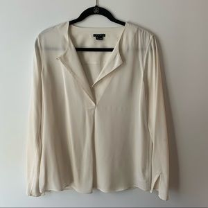 Theory white silk blouse with button closure